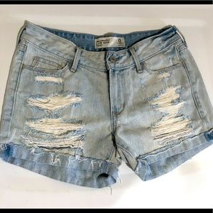 Abercrombie & Fitch Distressed Jean Shorts 0 25